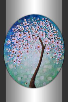 """ORIGINAL Abstract Art Textured Flowers Tree Painting Blue Green Landscape 24x20"""" Oval Canvas Wall Art Palette Knife Blooming Tree Artwork on Etsy, $250.00"""