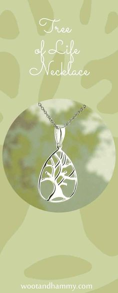 Tree of life teardrop necklace in sterling silver