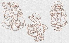 Free Embroidery Sunbonnet Sue Pattern | Sunbonnet Sue Redwork Machine Embroidery Designs Set 2 ...