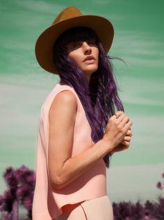 purple hair hat