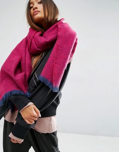 Image 1 of ASOS Oversized Long Woven Scarf in Mini Herringbone Boucle