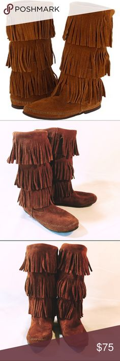 MINNETONKA leather calf high fringe leather boot Super cute EUC gently used Minnetonka moccasin boots, super soft and no signs of wear or stains Minnetonka Shoes Ankle Boots & Booties