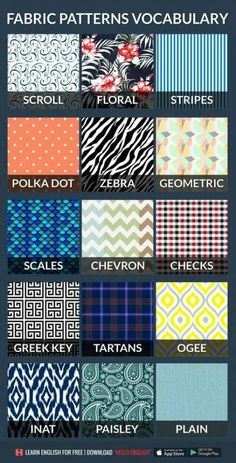 Clothes Patterns Vocabulary 33 New Ideas – Definitions, Lists and Ways – fabric Textile Pattern Design, Textile Patterns, Clothing Patterns, Fabric Design, Print Patterns, Fashion Terminology, Fashion Terms, Fashion 101, Fashion Ideas
