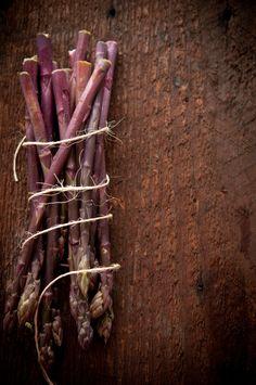 Natural light food photography by Dina Avila of Portland, Or- Purple Asparagus