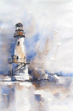 lighthouse in blueandbrown #watercolorarts