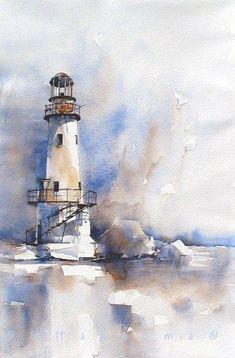 lighthouse in blueandbrown
