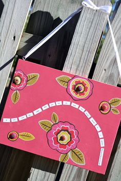 Pink Wooden Wall Art with Ribbon Hanger by RaspberryPrairie, $30.00