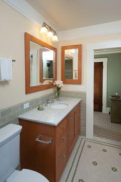 Craftsman inspired bathroom. Vanity detail. Piedmont, CA. Designed by Kirk E. Peterson & Associates.