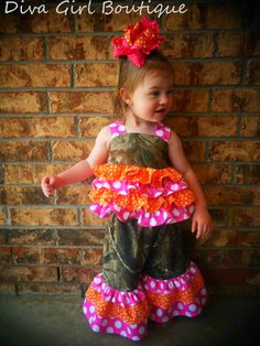 Boutique Girls Birthday Outfit Camo Custom Childrens Clothing Extra Ruffle Party Outfit M2M OTT Boutique Hairbow 12m 18m 2T 3T 4T 5 6 7 8. $65.50, via Etsy.