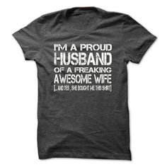 I Am A Proud Husband Of A Freaking Awesome Wife - Shirt - #tshirt fashion #nike hoodie. I WANT THIS => https://www.sunfrog.com/LifeStyle/I-Am-A-Proud-Husband-Of-A-Freaking-Awesome-Wife--Shirts[Hot]-47372440-Guys.html?68278