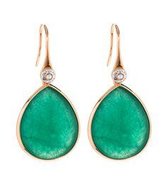 Henri Rocks Dyed Green Jade Large Teardrop Earrings ( LOVEEEE this color!)