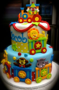 the circus train cake.sweet mary's new haven ct Baby Boy Birthday Cake, 1st Birthday Cakes, Circus Birthday, Circus Party, Birthday Parties, Sweet Cakes, Cute Cakes, Rodjendanske Torte, Circus Cakes