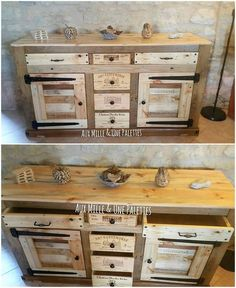 You can build up a low height cabinet out of the wood pallet that is quite an interesting option of the furniture sets to opt out for the home use. Take the best idea from this amazing wood pallet created cabinet out of the image we have shared for you. See the image below!