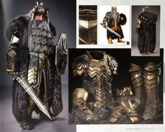 "Rob Gillies (Weta Workshop Supervisor): ""Like Thror's, Thrain's armour had raven motifs in it, a homage to the relationship the Dwarves of Erebor shared with the ravens of the Mountain. Fantasy Dwarf, Fantasy Armor, Rr Tolkien, Hero Games, Arm Armor, Illustrations And Posters, The Hobbit, Halloween Costumes, Larp Costumes"