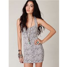 Free People Animal Knit Bodycon Dress