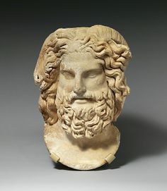 Marble head of Zeus Ammon ca. 120–160 A.D. This powerful portrait of the god combines a classical Greek image of the bearded Zeus with the ram's horns of the Egyptian Ammon