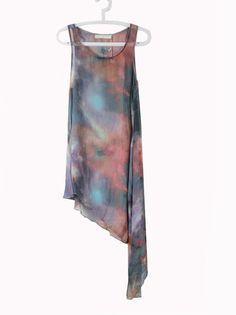 Galaxy Print Asymmetric Chiffon Sheer Shift Dress