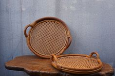 Vintage rattan tray by AntiqueFilling on Etsy