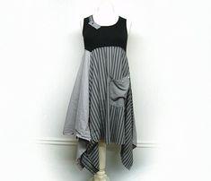 Long Boho Tunic Black and Gray Tunic Dress Boho Chic Clothing Lagenlook Clothing Upcycled Clothing for Women by Primitive Fringe by PrimitiveFringe
