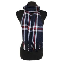 "❤️20% off bundles! Navy blue plaid fringe scarf Plaid fringe scarf. This is not an infinity scarf. Measures 60"" long and 13"" wide. Colors are navy/ red/ white. Brand new without tags. 80% acrylic/ 20% cotton. Very very slightly fuzzy. Availability- 2PLEASE do not purchase this listing. No trades. ❤️VDAY CLEARANCE: All items marked ❤️ are final price. Purchase three or more and receive 20% off!! Boutique Accessories Scarves & Wraps"