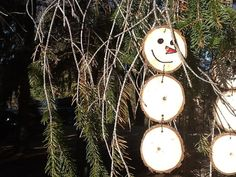Snowman Christmas ornament tree branch slice by PoohPoohPillows, $4.95