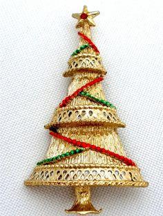 Signed Beatrix Red Green Enamel Christmas Tree Estate Vintage Gold tone Brooch   eBay