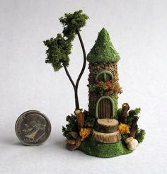 Handmade Miniature -  MOSS COVERED STONE FAIRY TOWER HOUSE - by C. Rohal #CRohal