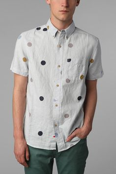 Your Neighbors Short-Sleeved Noni Polka Dot Shirt Urban Outfitters - Urban Outfitters Polka Dot Shirt, Polka Dots, Mens Fashion, Fashion Outfits, Well Dressed Men, Swagg, Printed Shirts, Casual Shirts, Style Me