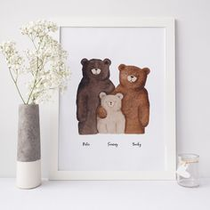 This personalised bear family portrait is a charming illustration of a family of bears that would make a perfect christening or new baby gift. Beautifully