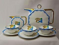 Octagonal Geometric Tea Service with Kandinsky inspired motif French Limoges Art deco 0c0 1925