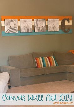 DIY Canvas wall art - easy living room decorating ideas focal point project with a few boards and canvas prints!