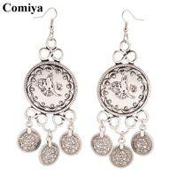 Comiya joyeria de moda de europa ronda coin colgante pendientes para mujeres pendientes mujer diseñador de la marca grandes pendiente accesorios de aleación de zinc