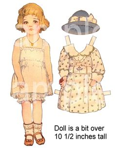 Vintage Paper Doll PaperDoll with 5 Outfits  Sized LARGE  for Little Hands  ADORABLE  Printable on 3 Digital  Sheets. $2.95, via Etsy.