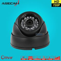 HD 720P IP Camera Onvif Black Indoor Dome WebCam CCTV Infrared Night Vision Security Network Smart home 1MP POE Surveillance