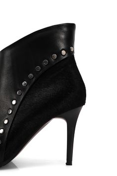 High Quality Sexy Genuine Leather Ankle Boots With Horse Fur For Women Ladies Pointed Toe Stiletto Heel Rivet Studded