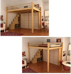 loft bed with container steps-This is what I want but would have a desk and more book shelves underneath. Build one for a full size bed.: