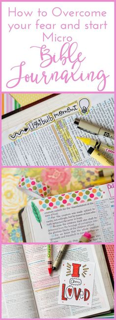 How to Overcome your Fear and Start Micro Bible Journaling in your Bible with Embracing the Lovely. Daily Bible Journaling in Micro Fashion . Bible Art, Bible Verses, Scriptures, Bible Study Journal, Art Journaling, Scripture Journal, Scripture Doodle, Prayer Journals, Bibel Journal
