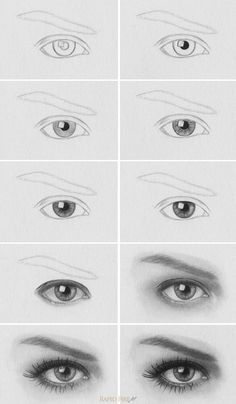 Tutorial: How to Draw Realistic Eyes  http://rapidfireart.com/2013/05/08/how-to-draw-eyes/