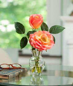Open Rose & Bud Accent, $35, Silkflowers.com, feels real! its a great gift, favor, your choice of colors: Tropicana, Red, White, Yellow, Mauve/Lavender, Pink and Coral