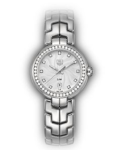 "WAT1414.BA0954 Silver dial with ""S-shape"" guilloche pattern,  Full diamond bezel, steel bracelet"