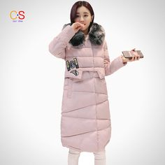 Women Long Padded Coat With Fur Collar Winter Darped Lined Hood ackets Zipper Patchwork Outfits Down Parkas