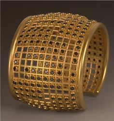 18k royal yellow gold lattice cuff with black diamonds by Maria Samora