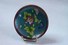 Coupelle ronde en émail cloisonné motif fleurs et feuillage sur fond turquoise Art asiatique de la boutique MyFrenchIdeedAntique sur Etsy
