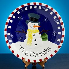 Snowman Plate with your friend's family name!