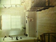 Love this bathroom. The floors, the tub, the exposed double shower...all of it. ~This Old House Magazine~
