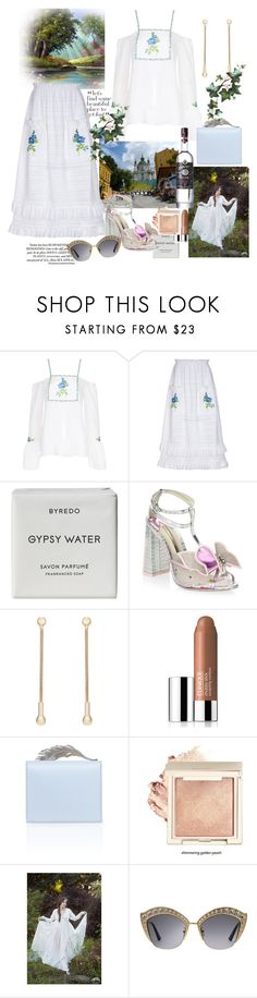 """""""Untitled #1420"""" by csfshawn ❤ liked on Polyvore featuring FLOW the Label, Byredo, Sophia Webster, Pamela Love, Clinique, Gucci, ukraine, kiev and outfitsfortravel"""