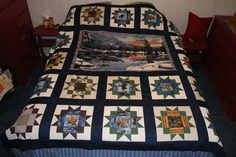Quilt top I made...just bought the backing material yesterday & am meeting the lady who will be quilting it for me on Wednesday. Can't wait to hear her ideas for quilting, especially for the panel.