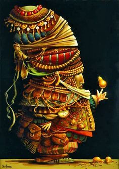 'Pear Balancer' -- by James C.Christensen (born Sept 1942) is a popular American artist of religious and fantasy art.
