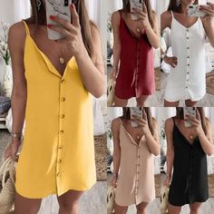 Spaghetti Straps Single Breasted Sleeveless Casual Dresses Pink-Always Spaghetti Strap Dresses, Spaghetti Straps, Casual Dresses, Casual Outfits, Plain Dress, Knee Sleeves, Cruise Wear, Holiday Dresses, Single Breasted