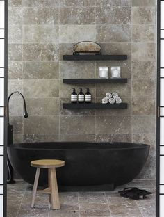 black tub and shelves! ybath.com